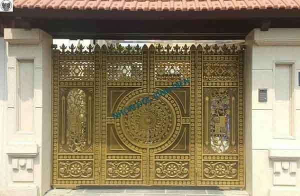 Mẫu cổng hợp kim nhôm Bg-013 màu nâu nhũ đồng
